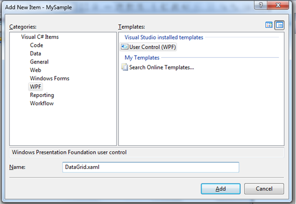 Wpf control in windowforms for Wpf datagrid control template
