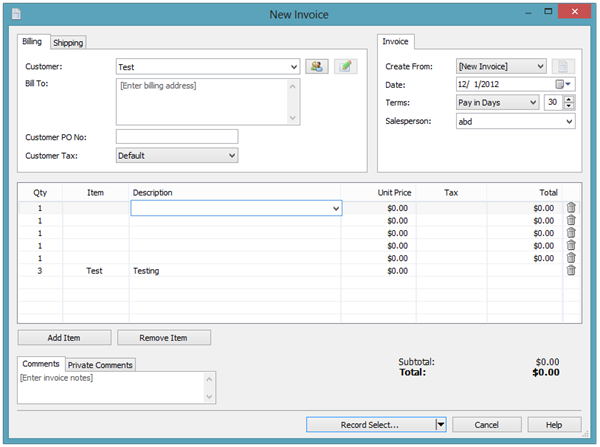 New Invoice - Express Invoicing