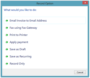 Record Option - Express Invoicing