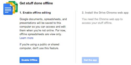 Offline Access Google Drive