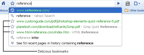 Delecious Bookmarks Screen