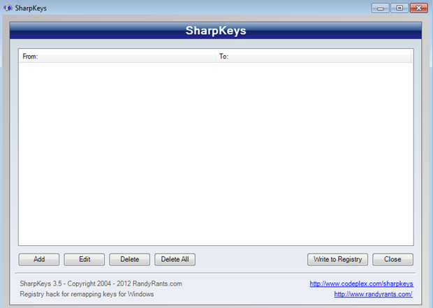 SharpKeys Start Screen