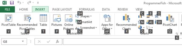 Insert Tab Excel 2013