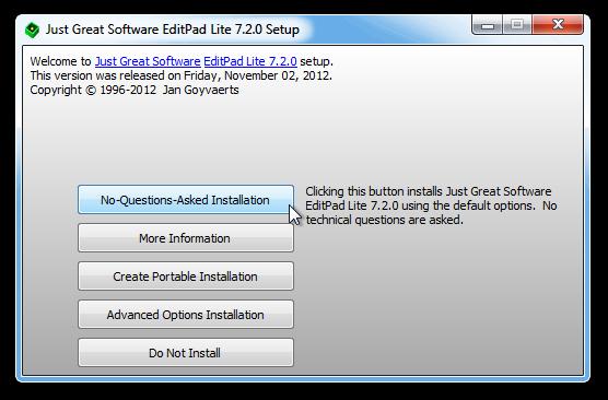 Just Great Software EditPad Lite Setup