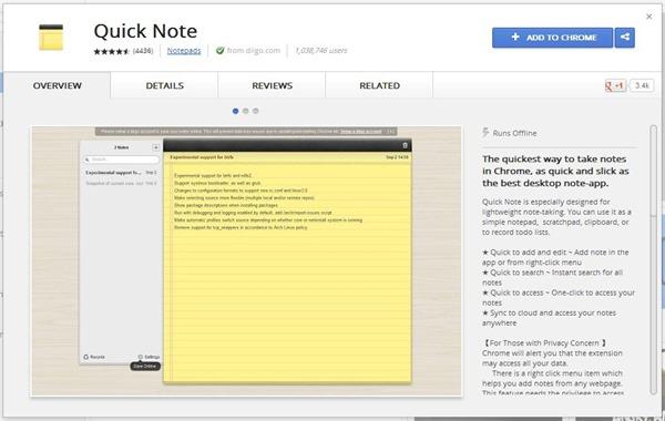 Quick Note - Chrome Web Store
