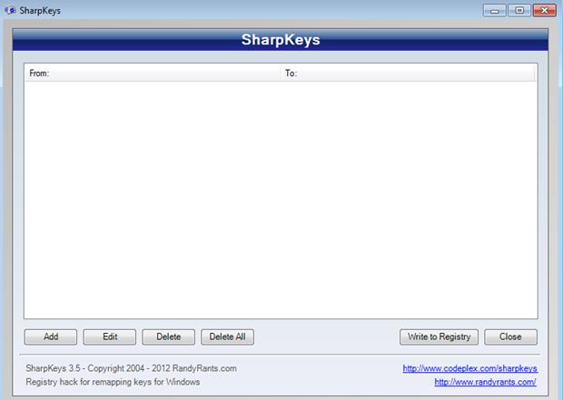 SharpKeys Start Screen
