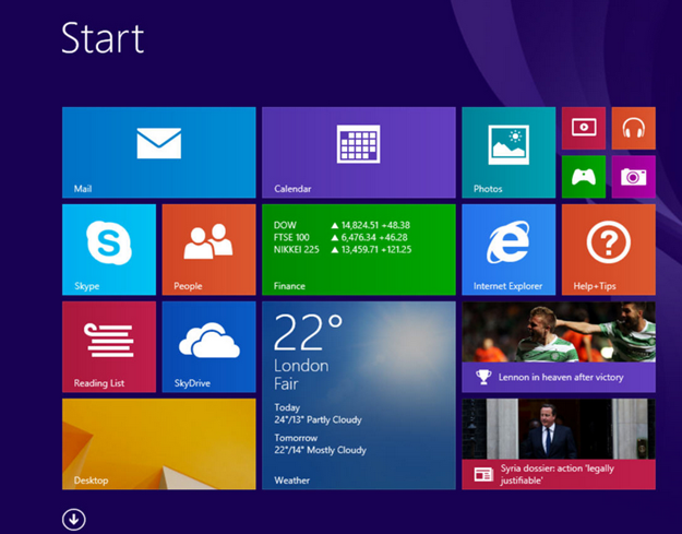 Window 8.1 first Screen