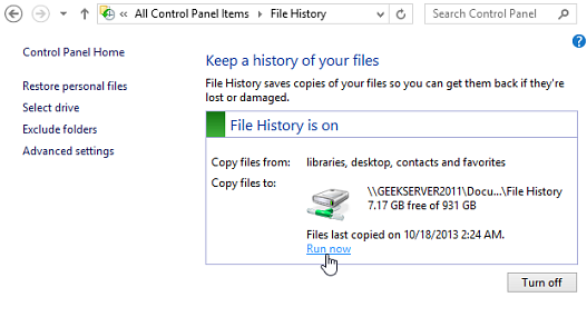 Windows 8 file history on back up feature