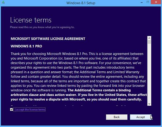 Windows 8.1 Liscnense Agreement
